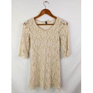 H&M Floral Lace Shift Dress Vintage Style Boho